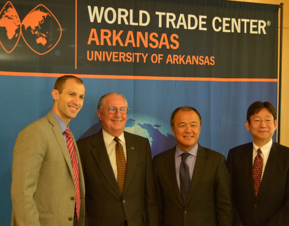 "The World Trade Center Arkansas (WTCAR) is expanding its partnership with the Arkansas Economic Development Commission (AEDC) with a new work space at the state agency's offices in Little Rock. ""Trade is vitally important for Arkansas,"" said Gov. Asa Hutchinson. ""Increasing exports of Arkansas products strengthens our economy, grows Arkansas business, and creates new employment opportunities for Arkansans. This new expansion between AEDC and the World Trade Center Arkansas will ensure that our state's flagship trade promotion agency is further empowered to help our companies gain access to the global market."" Launched in 2007, the Center was established at the University of Arkansas (UA) to help companies in the state access global markets through comprehensive trade promotion services such as market research, consultation, foreign trade mission participation, and business-to-business meetings. The Center builds upon the efforts of its partners – Hunt Ventures, AEDC, City of Rogers, UA, and Office of the Governor – to bring together businesses and government agencies in growing international trade and strengthening the worldwide presence of Arkansas. ""Trade plays an integral role in our economy and is critical to economic development,"" said AEDC Executive Director Mike Preston. ""More than 350,000 jobs in Arkansas are supported by trade and foreign investment, and companies in trade-related industries tend to pay higher than those that are not."" The new office will allow the Center increased access to the entire state as it seeks to improve foreign market access and trade development, WTCAR officials said. ""We offer our services to companies throughout the entire state,"" said Dan Hendrix, president and CEO of WTCAR. ""This new office in Little Rock will help increase our effectiveness to serve clients statewide and will initially be manned by existing, rotating trade staff."" Most exporting companies in Arkansas are small businesses, and the top markets are Canada, Mexico, France, China, and the United Kingdom. The state's largest exporting industries are agriculture, aerospace, and transportation equipment, which combined contributed to nearly half of the $6.3 billion dollars in exports in 2017. Total exported goods and services since 2007 have reached $84 billion. The Center also builds commercial diplomacy through its regular work with officials, diplomats and business leaders from foreign countries to find opportunities for Arkansas businesses. The Center's trade directors actively advocate on behalf of exporting Arkansas companies to officials on all levels of government. Several special guests were on hand, including Japan External Trade Organization CEO Toshinaga Hirai and Lenka Horakova, Arkansas District Export Council chairman and Honorary Consulate General of the Czech Republic. The opening of the new office coincides with the International Trade Administration's official World Trade Month throughout May. The Center will be participating with multiple trade promotion events throughout the month such as the Trade With Africa Business Summit and the Governor's Awards For Excellence in Global Trade. ### About Arkansas Economic Development Commission (AEDC): Created in 1955 to make Arkansas more competitive in the post-World War II era, the Arkansas Economic Development Commission (AEDC) seeks to create economic opportunity by attracting higher-paying jobs, expanding and diversifying local economies in the state, increasing incomes and investment, and generating positive growth throughout The Natural State. Arkansas is a pro-business environment operating leaner, faster and more focused through a streamlined state government designed to act on corporate interests quickly and decisively. About World Trade Center Arkansas (WTCAR): The mission of the World Trade Center Arkansas (WTCAR) is to grow trade and increase Arkansas exports by connecting Arkansas businesses to the world through international trade services. The Center is part of the University of Arkansas and serves as the trade promotion arm for the Arkansas Economic Development Commission (AEDC). For more information and valuable updates, please follow the Center on Facebook and Twitter, or subscribe to the WTCAR newsletter."