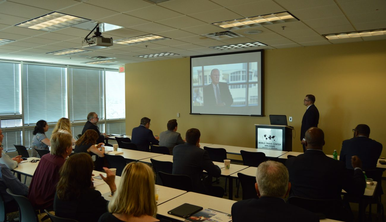 Participants in the Inside Export Financing Seminar watch a video about the World Trade Center Arkansas presented by Melvin Torres, Director of Western Hemisphere Trade. People interested in similar exporting resources cansubscribe to World Trade Center Arkansas emails to learn about upcoming opportunities.