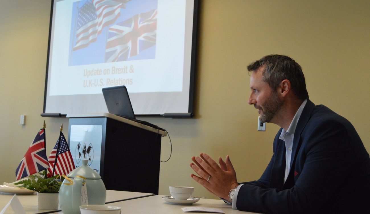 Dan Rutstein, the Regional Director for the West Coast-Central U.S. and the Head of Investment for the U.S. at the British Consulate General in Los Angeles delivers an informative briefing on Brexit and U.S.-U.K. relations at the World Trade Center Arkansas on Friday, June 29.