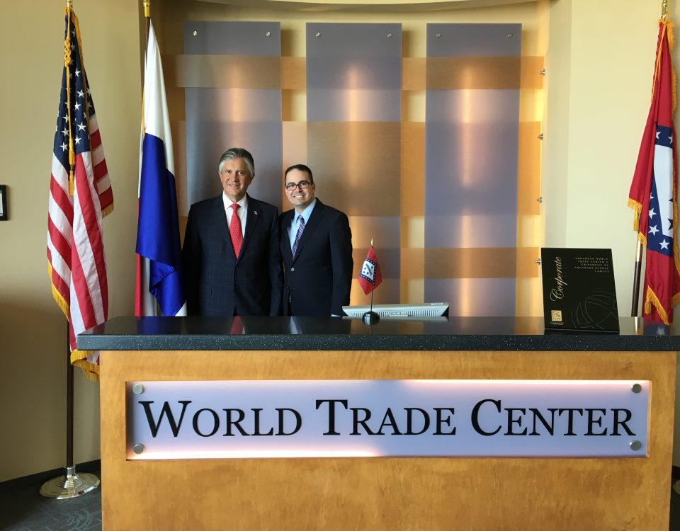 Melvin Torres, director of Latin American Trade for the World Trade Center Arkansas stands with Jaime Figueroa Navarro of Panama.