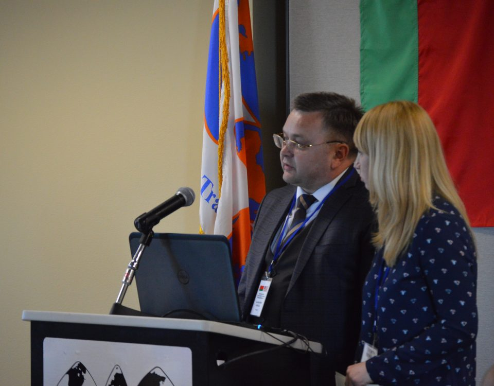 Leader of the Belarus trade delegation Aliaksandr Zabella, Chairman of the Belarusian State Food Industry Concern and Tatiana Sitnikava, Chief of the Foreign Affairs Sector for the Mogilev Region of the Belarus Chamber of Commerce and Industry address Arkansas government and commercial leaders at the World Trade Center Arkansas.