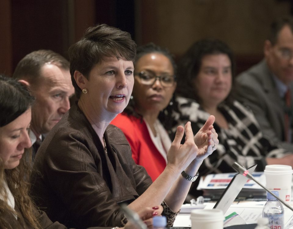 U.S. Customs and Border Protection Executive Assistant Commissioner Brenda B. Smith, Office of International Trade, addresses members of the Commercial Customs Operations Advisory Committee (COAC) in Washington, D.C., Nov. 17, 2016. Photo by Glenn Fawcett