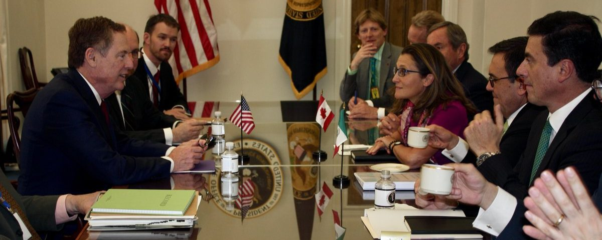 USTR Lighthizer hosts Canada's Minister Freeland & Mexico's Secretary Guajardo for trilateral discussions on NAFTA modernization. Photo Courtesy of USTR Twitter Account.