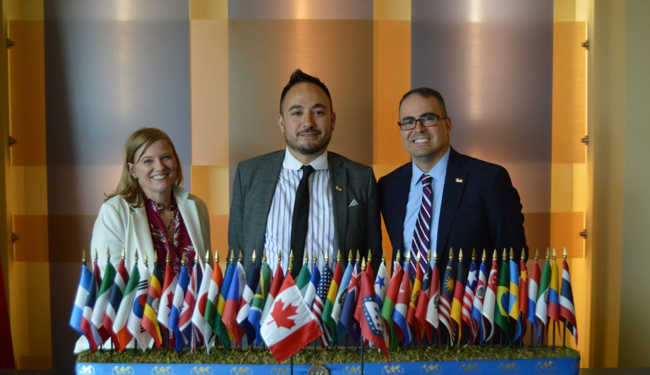 Foreign Policy and Diplomatic Service Officer Amy Goudar and Consul and Trade Commissioner Delon Chan from the Canadian Consulate