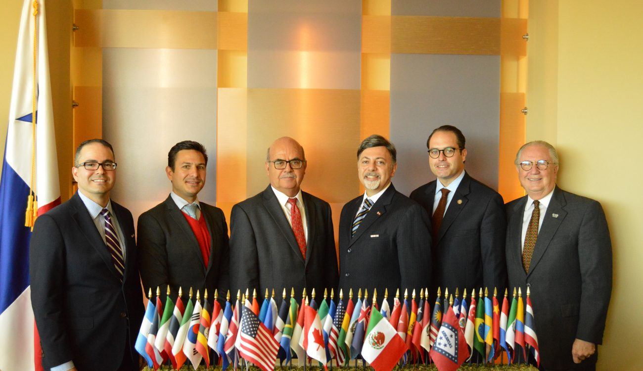 Officials from the World Trade Center Arkansas stand with officials from the Consulate General of Canada in Dallas, the Consulate of Mexico in Little Rock, ProMexico and the Arkansas Governor's office at the trade briefing on Tuesday, October 23, 2018. From left to right: Melvin Torres, Director of Western Hemisphere Trade at the World Trade Center Arkansas; Fernando Marti, Trade & Investment Commissioner of ProMexico; Consul General Rodolfo Quilantan-Arenas from MExico; Consul General Vasken Khabayan from Canada; Carlton Saffa, Senior Strategist for Governor Asa Hutchinson; and Dan Hendrix President and CEO of the World Trade Center Arkansas.