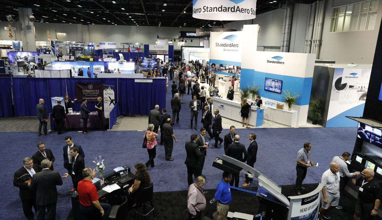 Attendees of the National Business Aviation Association's annual convention in Orlando explore the ground floor of the exhibition. World Trade Center Arkansas Senior Director of Global Trade Strategy helped coordinate a trade mission with five Arkansas companies to the convention.