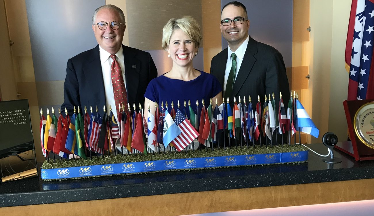 """Dan Hendrix, president and CEO World Trade Center Arkansas; Kimberly Reed, president and chairman of the board US EXIM Bank; Melvin Torres, director of Western Hemisphere Trade, WTC Arkansas."